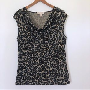 Michael Kors Leopard Print Blouse Draped Neck Top